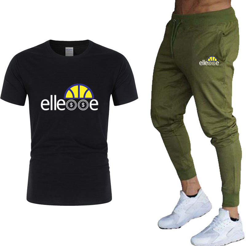 2019 New Men's T Shirt+Pants Sets Letter Printed Summer Suits Casual Tshirt Men Tracksuits Brand Clothing Tops Tees Set Male 2XL