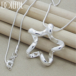 DOTEFFIL 925 Sterling Silver Starfish Pendant Necklace 18 Inches Snake Chain For Fashion Women Wedding Jewelry