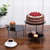 3 tier Black Acrylic Rectangular Display Stand Dessert Stand Cosmetic Display Stand Display Rack For Home Decoration