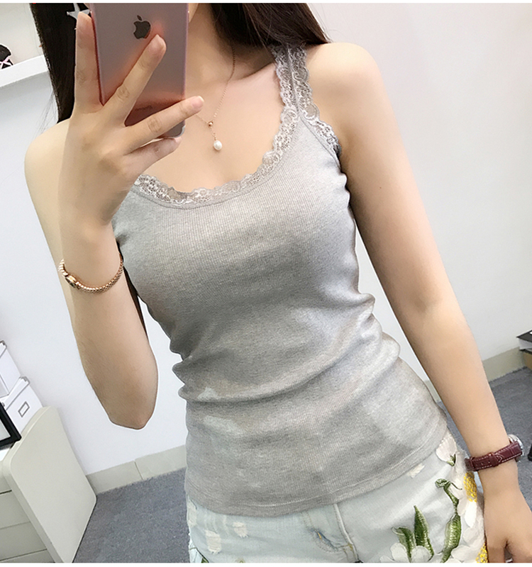 2019 Summer New Women Sleeveless Tanks Top Bodycon Temperament Sexy Lace Patchwork Tshirt Vest Tank Top Female Vest Tops