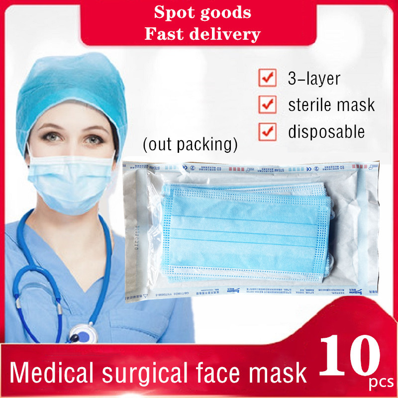 10Pcs Particle Facial Mask Anti-virus Mask 3-Layer Protection Disposable Masks For Helth Care Paramedics Personal Protection