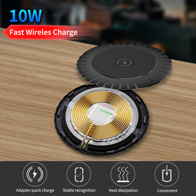 FLOVEME Qi Wireless Charger 10W Fast Wireless Charging Pad Usb Phone Charger For iPhone 8 11 Pro XS Max XR For Samsung S10 S9 S8 3