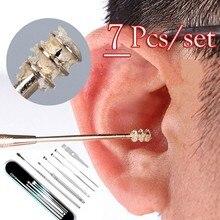 7 Pçs/set Espiral de Aço Inoxidável Portátil Colher Earpick Removedor de Cera de Ouvido Cleaner Ear