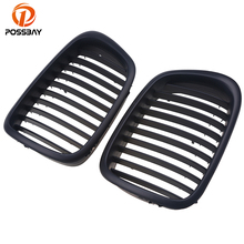 POSSBAY Front Matte Black Wide Kidney Auto Bumper Car Grille Grill for BMW 5 Series E39 M5 525tds/528i/530d/520i 1998-2003 1pair gloss car front sport grill kidney black grilles front hood kidney grille for bmw 5 series m5 e39 e60 e61 2003 2009