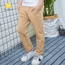 Новая стильная осенняя одежда на гусеничном ходу повседневные эластичные трикотажные штаны из чистого хлопка для мальчиков Качественные однотонные детские брюки