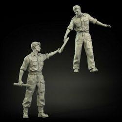 Novo unmounted 1/35 antigos oficiais britânicos conjunto de carregamento incluem 2 resina figura kit modelo sem pintura