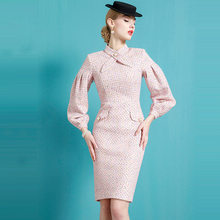 Celebrity Xiaoxiangfeng Dress and Autumn Dress Hepburn Dress High End Retro 's 2021 Spring Women Puff Sleeve Office Lady Lanon