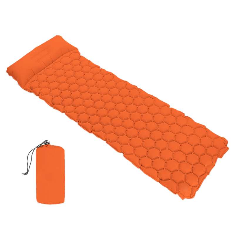 Outdoor Camping Portable Inflatable Sleeping Mat Picnic Inflatable Cushion Camping Mat With Pillow Air Mattress Travel Waterproo w Maty kempingowe od Sport i rozrywka na title=