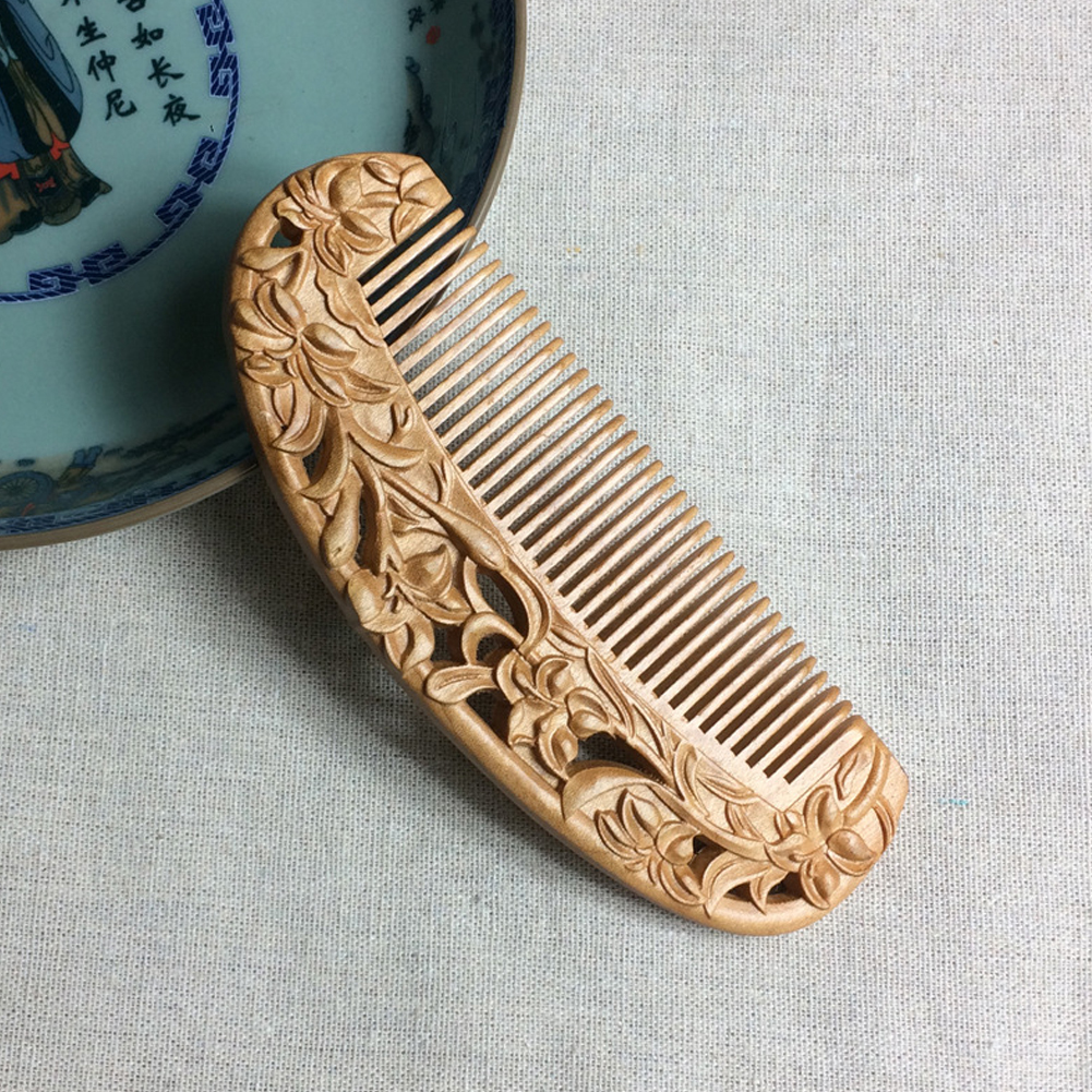 Health Care Ornament Hairdressing Peach Wood Comb Retro Home Travel Carving Double Sided Solid Multifunction Massage Portable