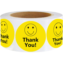 Круг самоклеящихся стикеров спасибо рисунком в виде улыбающихся