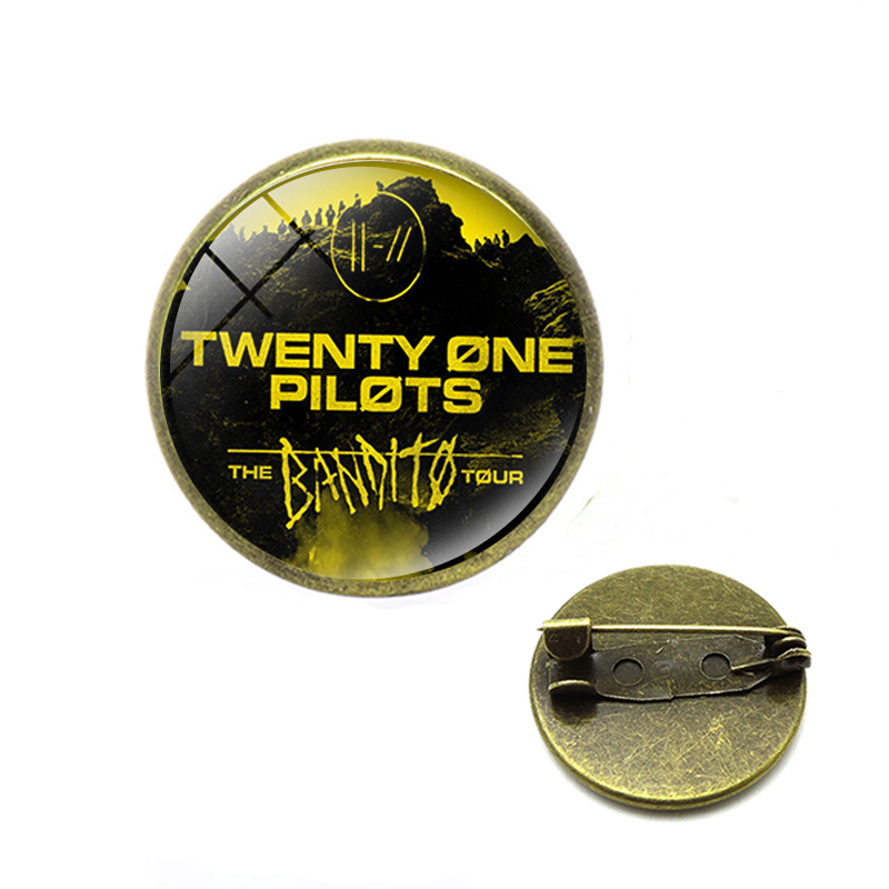 Twenty One Pilots Brooches Punk Rock Music Band Logo Glass Backpack Lapel <font><b>Pin</b></font> <font><b>Button</b></font> Badges Christmas Jewelry image
