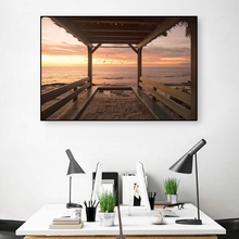 Laeacco Seaside Canvas Painting Space Wall Art Landscape Posters Decoration Picture Living Room Office Decor Prints