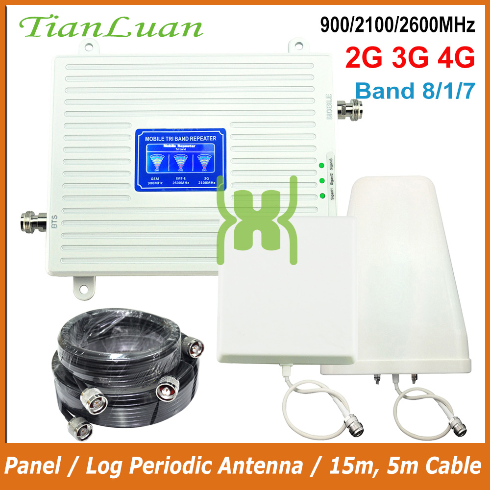 TianLuan 2G 3G 4G Repeater 900 2100 2600MHz Signal Booster GSM WCDMA LTE Cellphone Signal Repeater Cellular Amplifier Band 8,1,7
