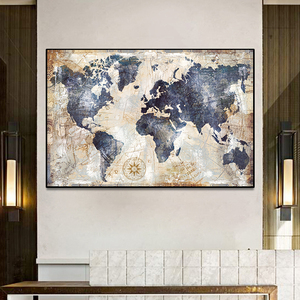 Vintage Nautical Map Canvas Painting Posters and Prints Abstract Wall Art Pictures Cuadros for Living Room Decor