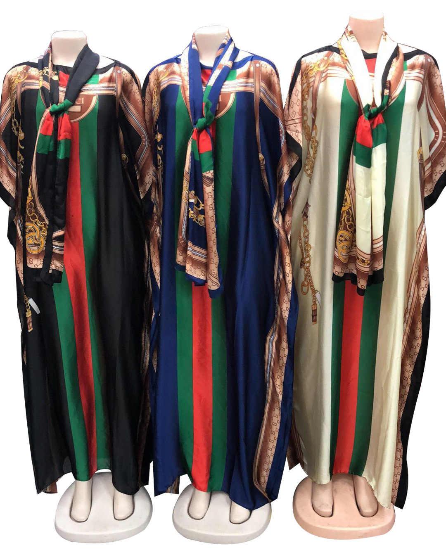 فستان سهرة نسائي أفريقي من BacklakeGirls فساتين سهرة برقبة قارب مطبوع عليها نسيج حريري مع وشاح للرأس رداء طويل