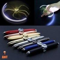 Bolígrafo De Metal luminoso giratorio multifunción, juguete de descompresión LED creativo, giratorio dorado