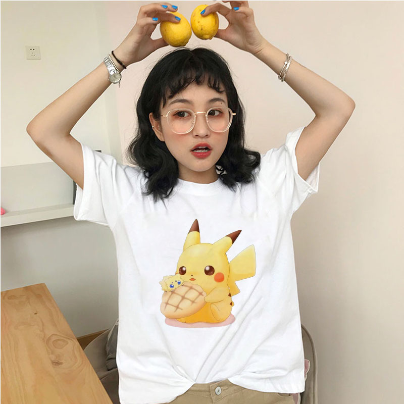 Showtly Kawaii Pikachu T-shirts Women Clothing Casual Tshirt Cute Summer Tee Tops Female Funny Cartoon Japanese Graphic T Shirt