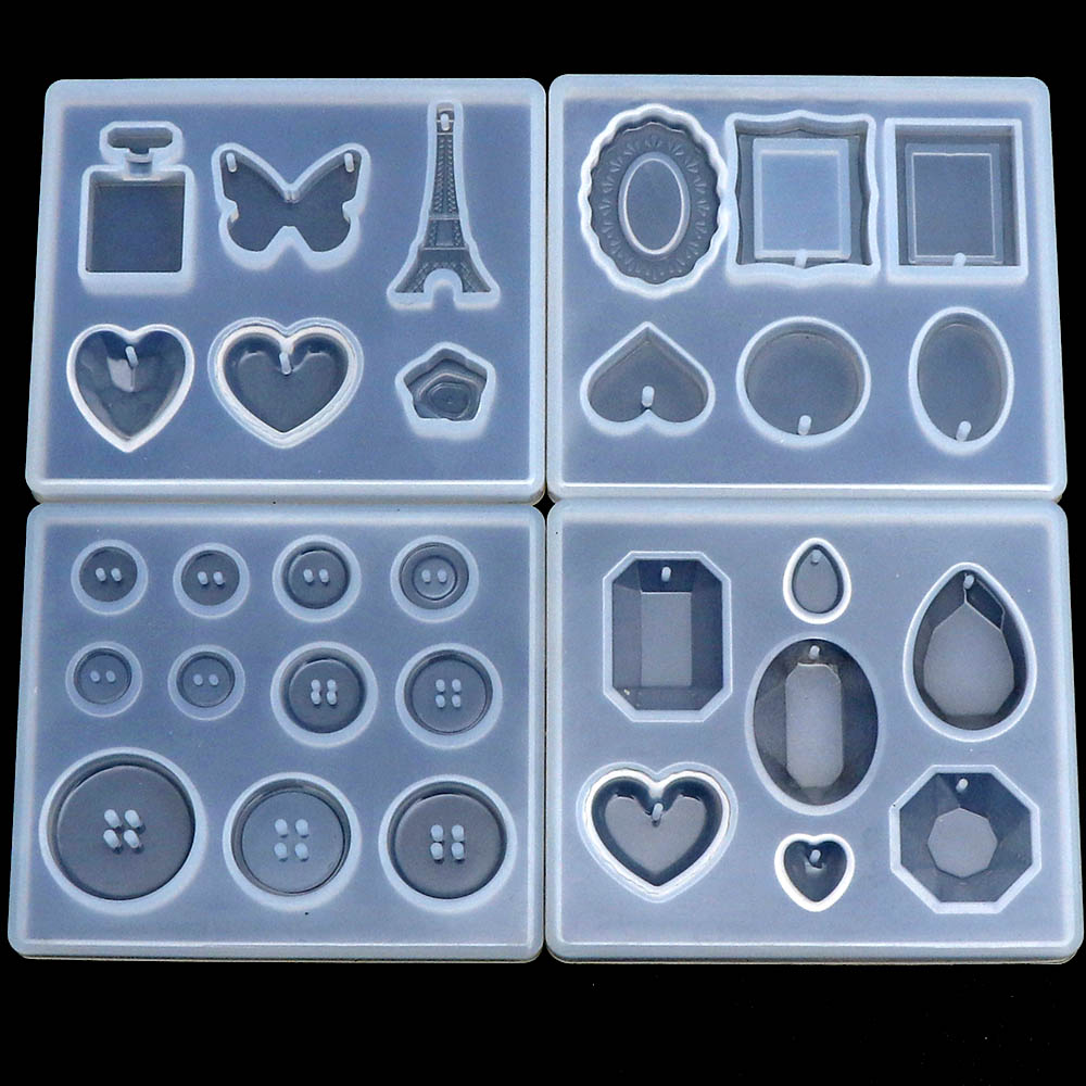1pcs Butterfly Heart Charms Pendant DIY Transparent UV Resin Liquid Silicone Combination Molds Craft Tool DIY Epoxy Resin Molds