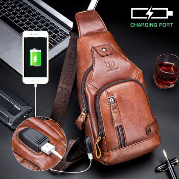 BULLCAPTAIN Men's Crossbody Bags Genuine Leather Messenger Bag Anti-theft USB Recharging Shoulder Sling Bag for Trip Chest Pack qibolu genuine leather mens sling bag single shoulder bag men chest pack messenger crossbody bag for man bolsas masculina mba37