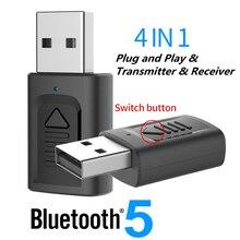 USB Bluetooth 5.0 adaptateur 3.5mm AUX BT Audio récepteur émetteur sans fil Dongle pour voiture TV haut parleur 4 en 1 adaptateur Bluetooth