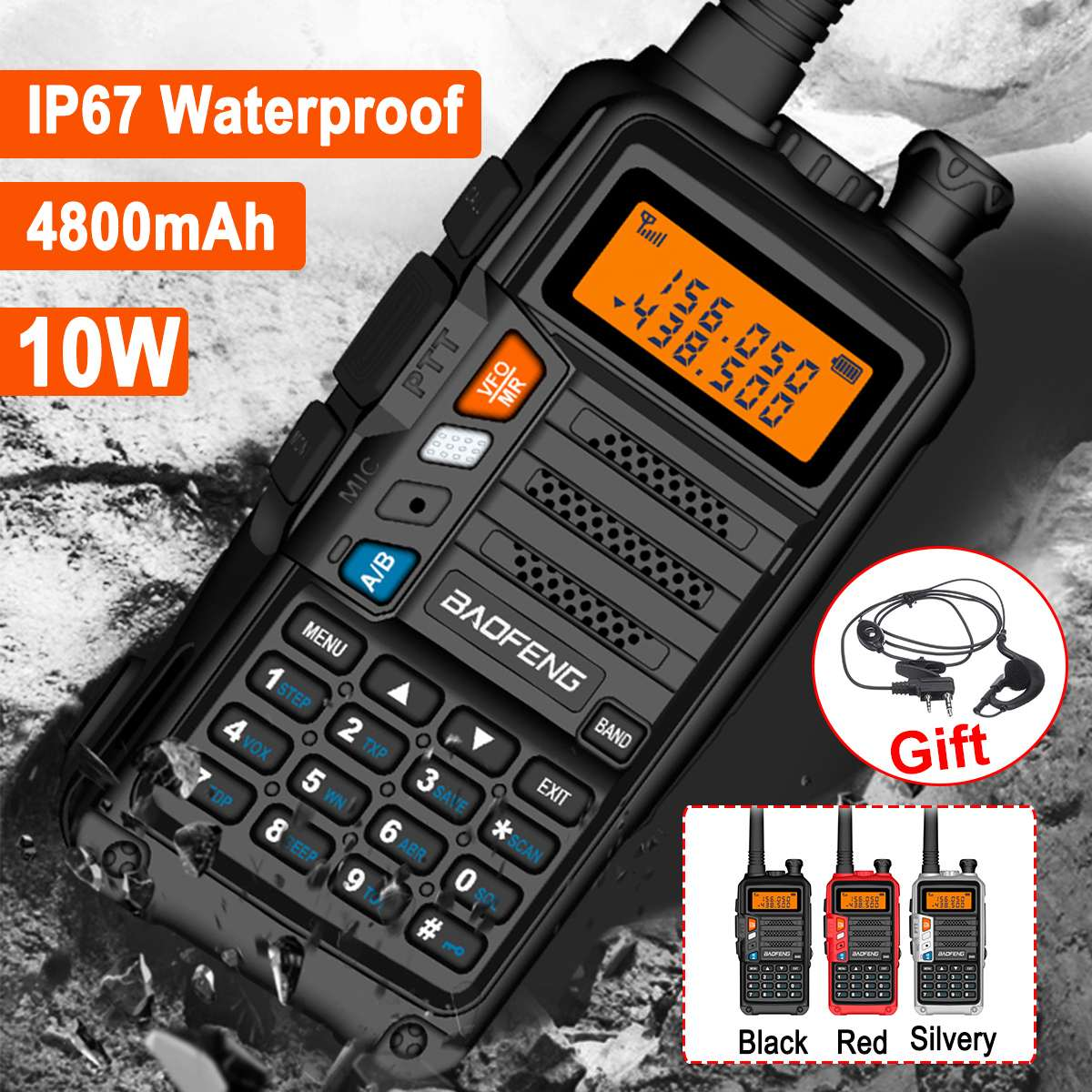Walkie Talkie USB Charger Cable With Indicator Light 10W Walkie Talkie With Headphones IP67 Waterproof 4800mAh Battery