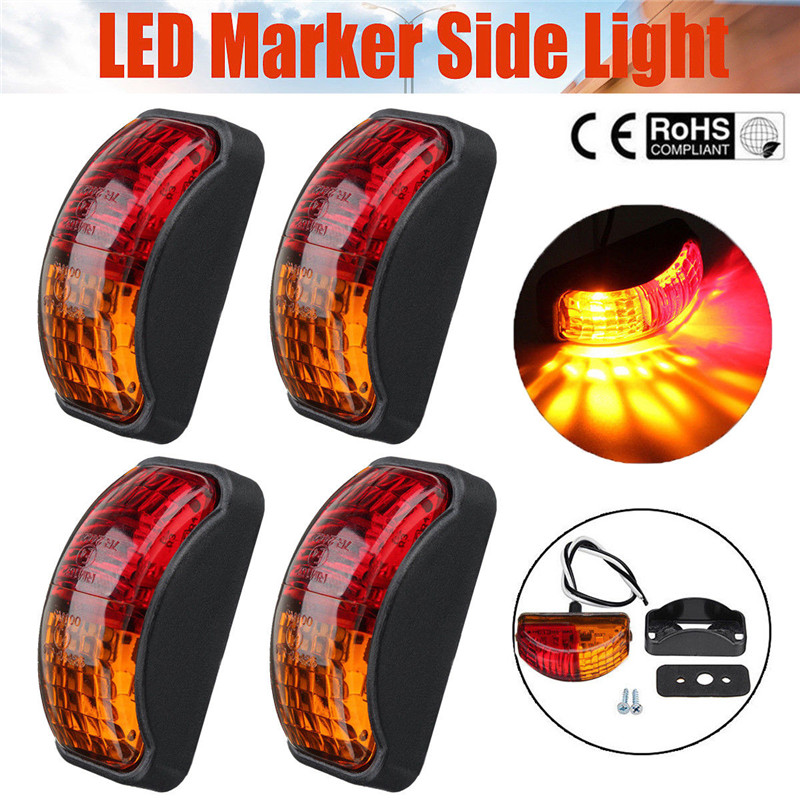 4PCS LED Lights 12 V Truck 4pcs 2 LED Red Amber Side Marker Lights Lamp Trailer Truck Lorry Caravan
