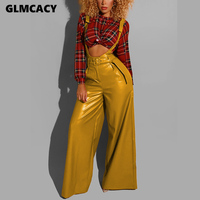 Women Suspender PU Long Pants Belted Sexy Chic Streetwear Sexy Party Clubwear Night Out Pants Trousers