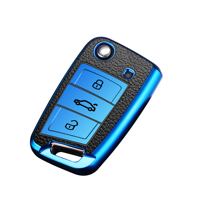Купить тпу + кожаный чехол для автомобильного ключа volkswagen vw golf