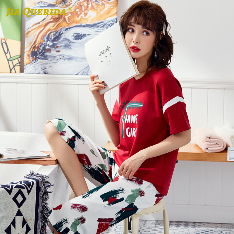 New Fashion Style Loungewear Pjs Women Pajamas Set Homesuit Homeclothes Fashion Style Casual Style Short Sleeve Capris Summer