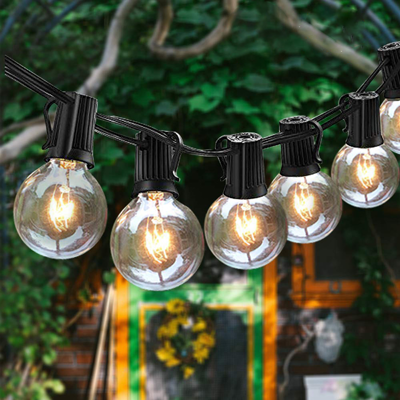 25Ft G40 LED Bulb Globe String Lights With Clear Bulb Backyard Patio Lights Vintage Bulbs Decorative Outdoor Garland Wedding