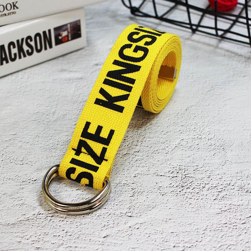 24 стиля, унисекс, холщовые ремни с буквенным принтом, d-образное кольцо, двойная пряжка, панковский ремень на талию, для женщин, мужчин, подростков, длинный широкий белый ремень - Цвет: Yellow KINGSIZE