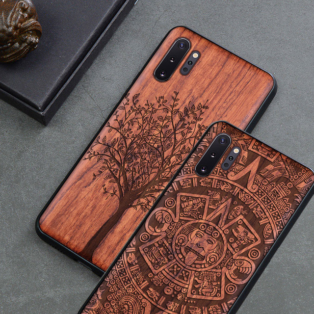 Custom Carved Wood Case For Samsung note 10 plus Note 8 Note 9 Case funda For Samsung s10 s9 plus Wooden TPU Protective Case
