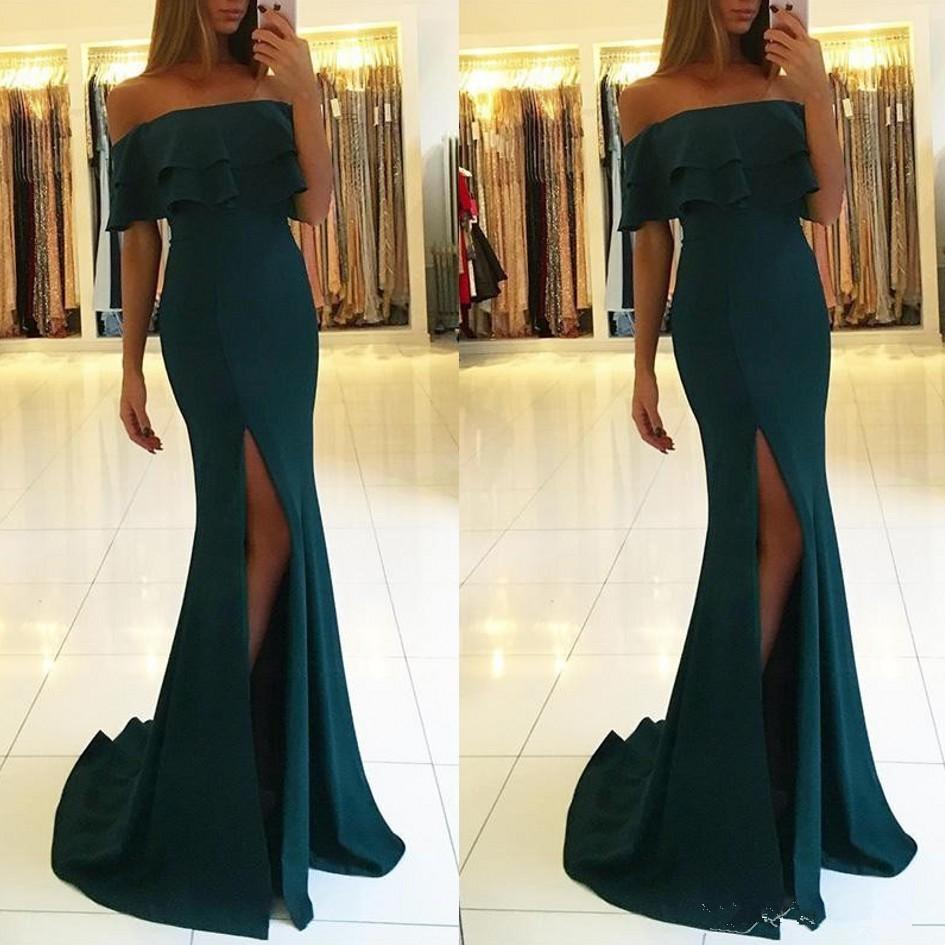 robe de soiree 2019 abiye Elegant Split Evening Dress Off the Shoulder Mermaid Side Slit Evening Prom gown formal dresses Cheap