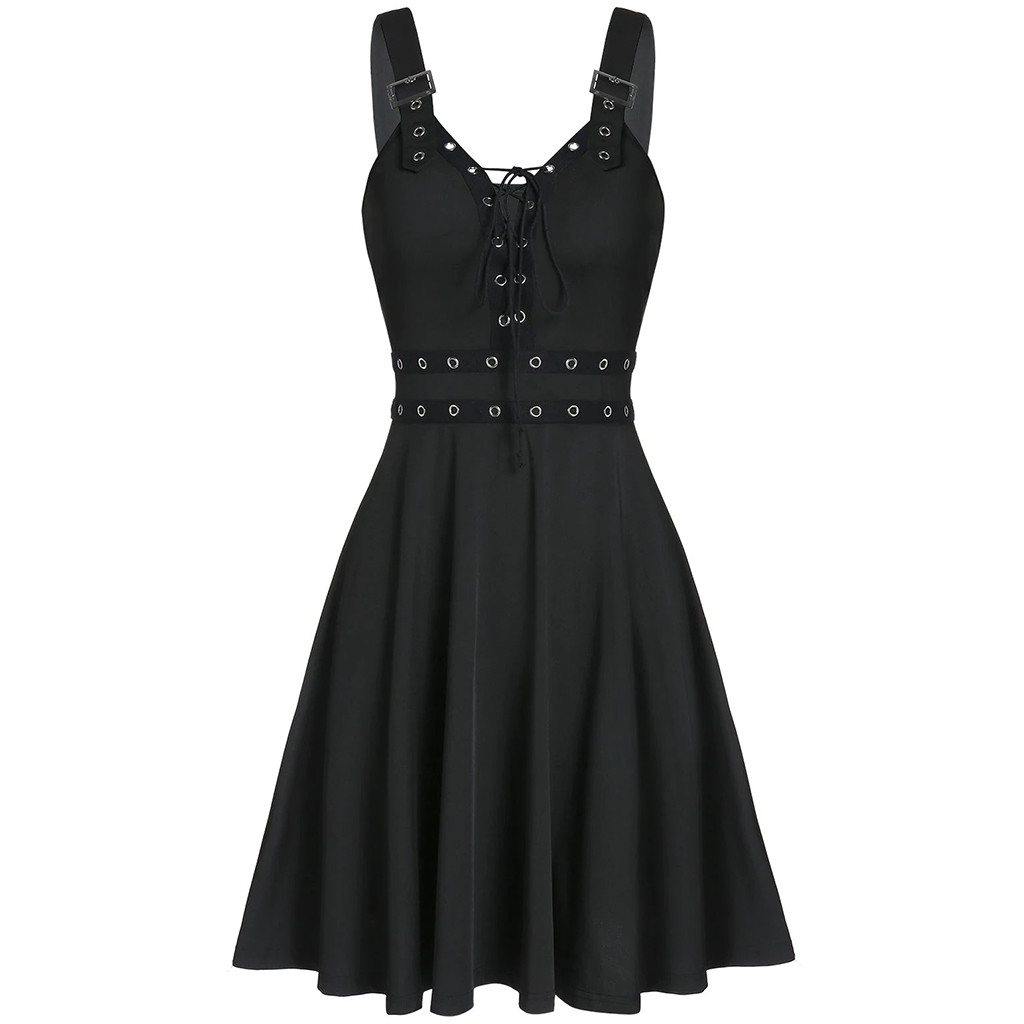 Women's Gothic Punk Sleeveless Strap Sling Dress Elegant Strap Backless Sexy A-line Party Strapless Strapless Dress Female 1