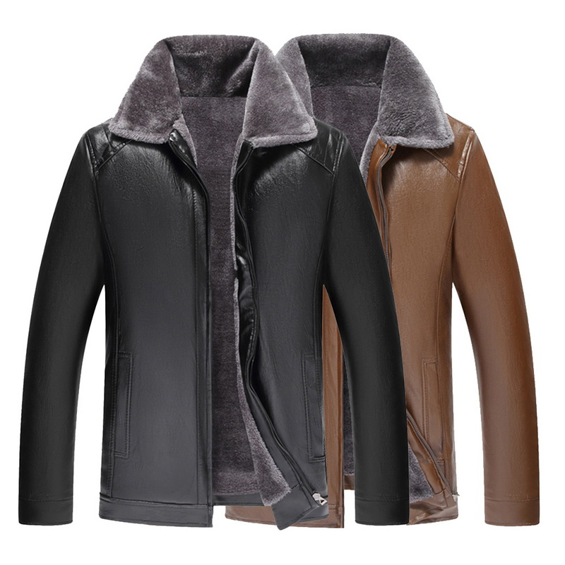Winter Jacket Men Leather Jackets Brand Sheepskin Coat Jaqueta Couro Male Leather Jacket Men's Stand Collar Leather Outwear