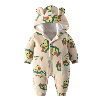 IYEAL Baby Clothing Boy Girls Clothes Warm Cotton Newborn Toddler Rompers Cute Printed New born Winter Hoodie Outerwear Overalls