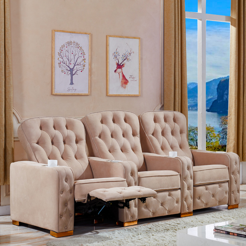 Living Room Sofa Recliner Sofa Cow Genuine Leather Recliner Sofa, Cinema Leather Recliner Sofa For Home Cinema