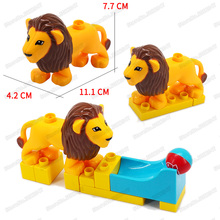 Childrens Building Blocks Toys Animal Lion Forest Kings Educational Model Large Particles Legoingly Duploinglys Christmas Gifts