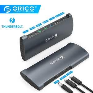 ORICO Real Thunderbolt 3 док-станция алюминиевый 40 Гбит/с концентратор USB Type C до 8 к DP HDMI USB3.0 RJ45 SD4.0 PD с адаптером питания для Macbook
