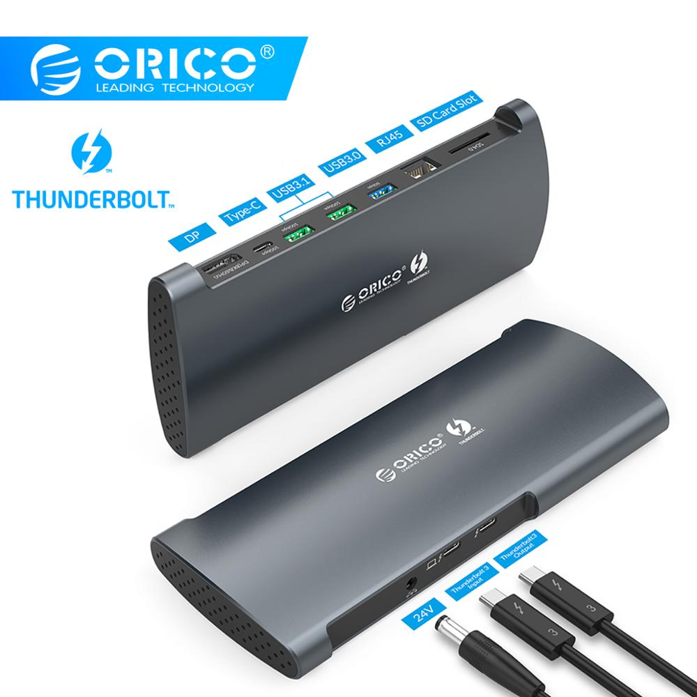 ORICO Real Thunderbolt 3 Dock Aluminum 40Gbps USB Type C HUB To 8K DP HDMI USB3.0 RJ45 SD4.0 PD With Power Adapter For Macbook