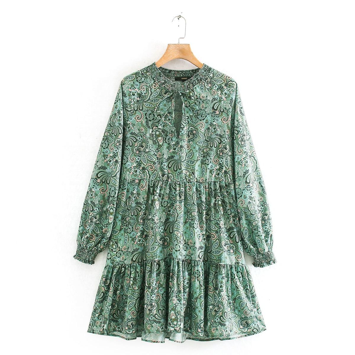 2020 frauen vintage cashew muttern blume drucken casual rüschen mini Kleid damen langarm falten vestidos chic bogen Kleider DS3292