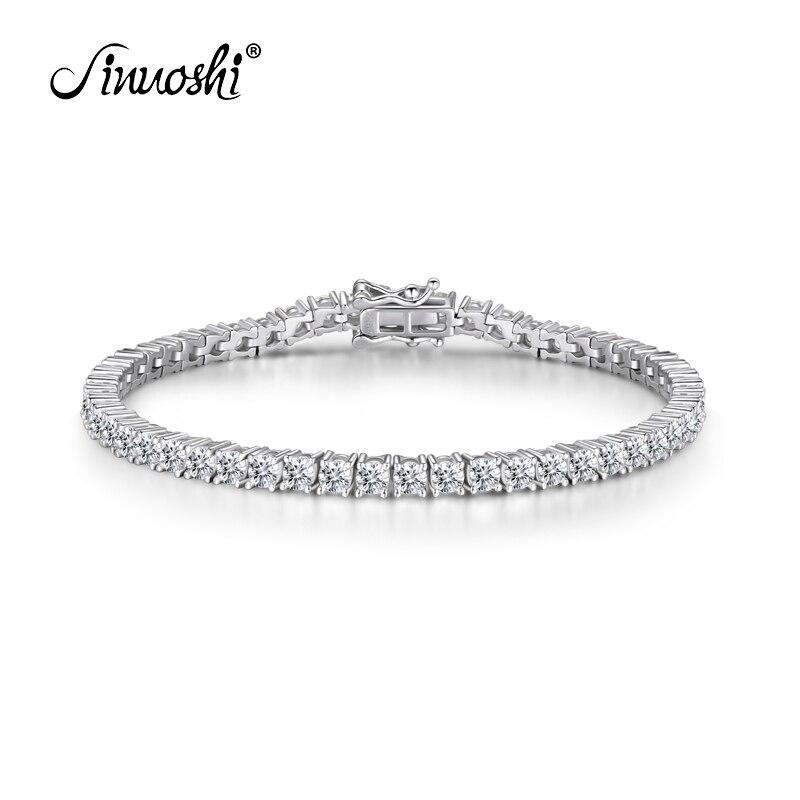 AINUOSHI luxe 925 argent Sterling 3mm pierre ronde Tennis bracelets pour femme 8 ''7.5'' 7 ''longueur argent Bracelet bijoux