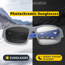 цена на Outdoor Sports Photochromic Sunglasses Men Polarized Chameleon Discoloration Night Driving Sun glasses oculos de sol masculino