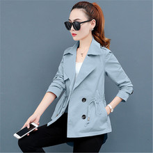 Spring Short Trench Coat Women Autumn Korean Hooded Double-breasted Outerwear La
