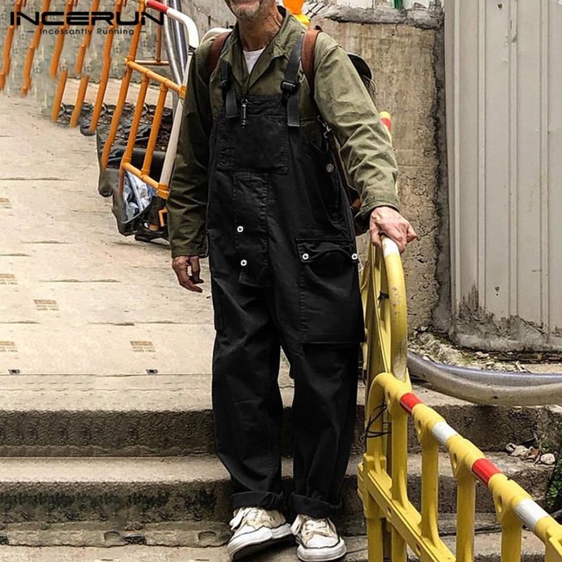 INCERUN Fashion Men Romper Jumpsuit Solid Color Bib Pants Casual Men Suspenders Baggy Workout Streetwear Overalls 2020 Plus Size