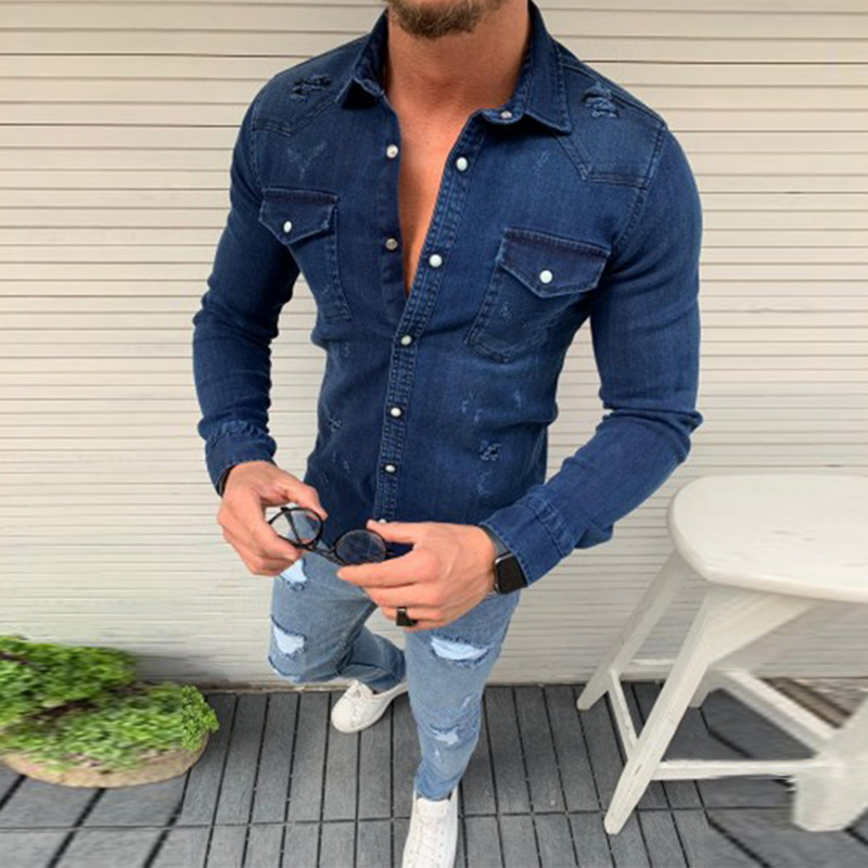 CYSINCOS Denim Shirt Men Casual Slim Fit Button Shirts With Pocket Men Camisa Long Sleeve Turn Down Collar Tops Camisa Masculina