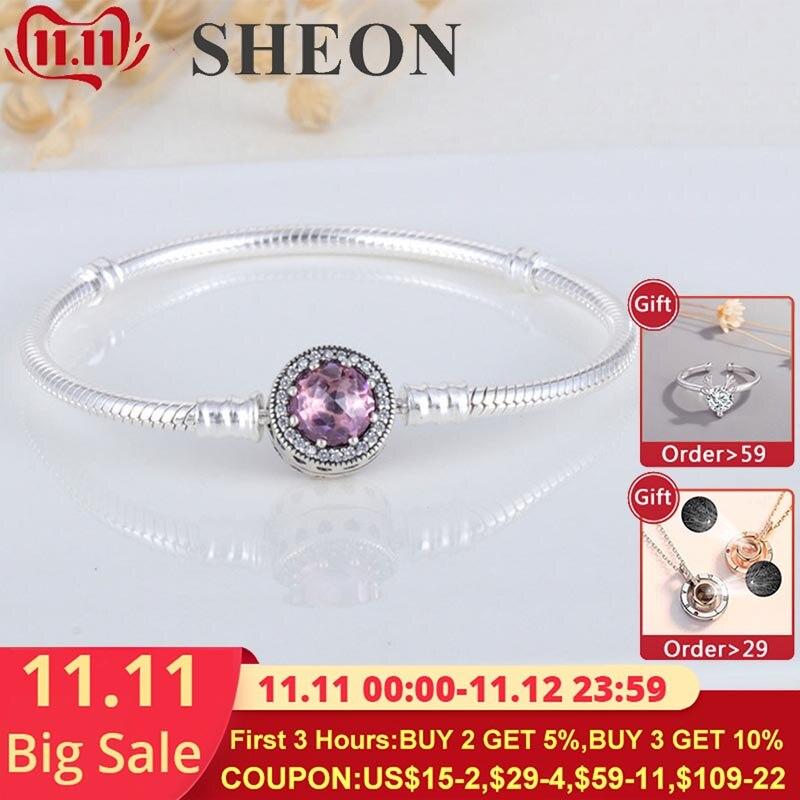 Fermoir oeil de chat à la mode 925 argent serpent chaîne lien Bracelet Fit authentique Pandora balancent breloques pour les femmes bijoux fins 16-22CM