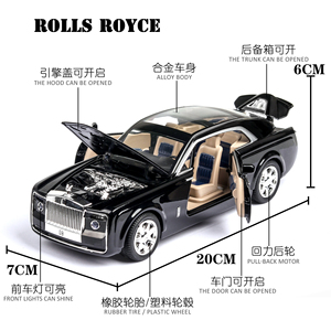 Image 4 - 2020 1/24 Diecast Toy Vehicl Rolls Royce Phantom Car Model Wheels Alloy Sound Light Pull Back Car Kid Toy Car Christmas Gift