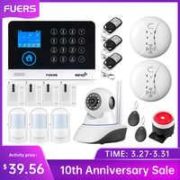FUERS WG11 WIFI bezprzewodowy gsm Home Business włamywacz System alarmowy kontrola aplikacji syrena RFID wykrywacz ruchu PIR czujnik dymu