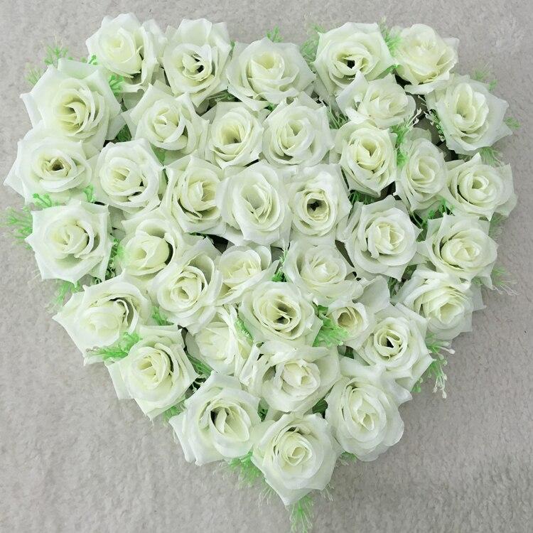 Décorations de Voiture de mariage couronnes de coeur Rose crème fleurs de soie couronnes de porte décorations de porte de mariage décor de Voiture bleu Tiffany